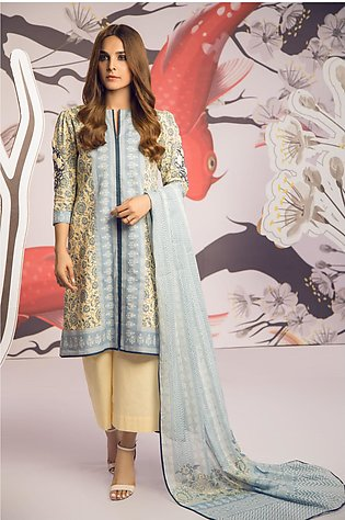 3 Piece Embroidered Suit with Broshia Dupatta