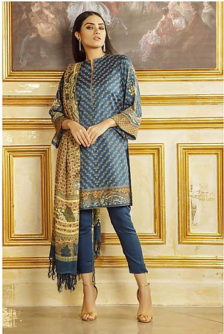 3 Piece Printed Twill Viscose Suit with Printed Shawl