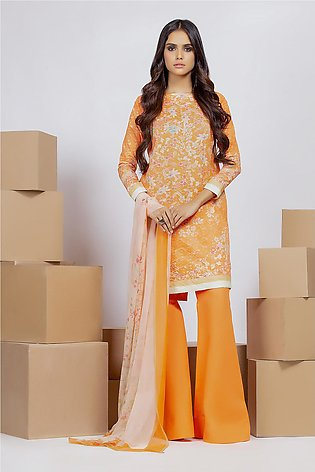 3 Piece Embroidered Suit with Chiffon Dupatta