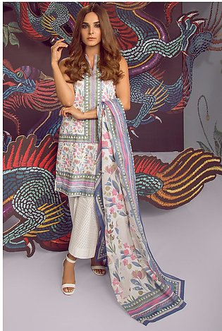 3 Piece Printed Suit with Lawn Dupatta