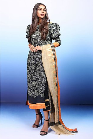 3 Piece Embroidered Suit with Jacquard Dupatta