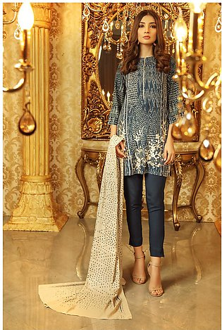3 Piece Embroidered Plain Viscose Suit with Plain Viscose Dupatta
