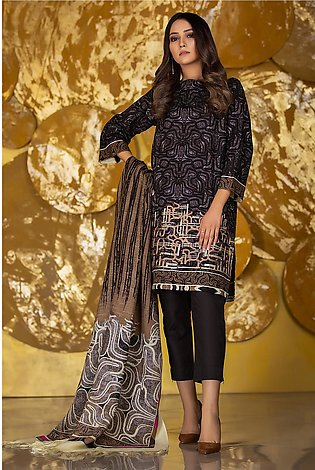 3 Piece Embroidered Khaddar Suit with Printed Shawl