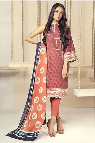 2 Piece Printed Suit with Lawn Dupatta