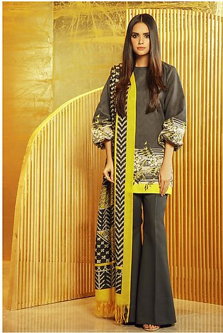 3 Piece Printed Khaddar Suit with Printed Shawl
