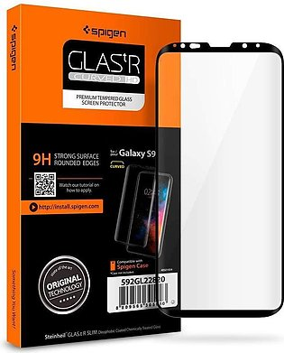 Galaxy S9 Spigen GLASTr Curved Slim Case Friendly Curved Tempered Glass