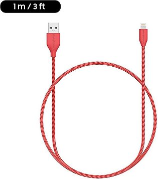 Braided Lightning Cable MFi Certified – 1 M – 3 Feet – Red – RP-CB019 by Ravp...