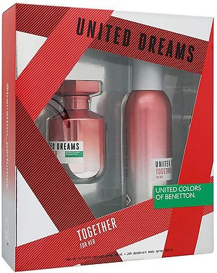 Benetton United Dreams Together For Her Gift Set For Women (EDT 80ml + DEO SP 1…