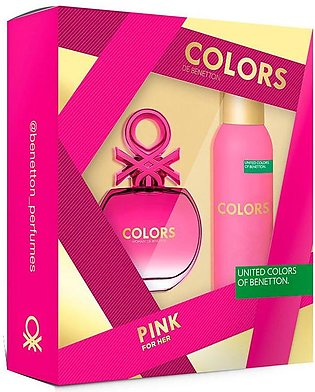 Benetton COLORS PINK Gift Set For Women (EDT 80ml + DEO SPRAY 150ml)