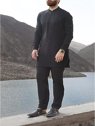 Black Blended Kameez Shalwar - AL-KS-2445