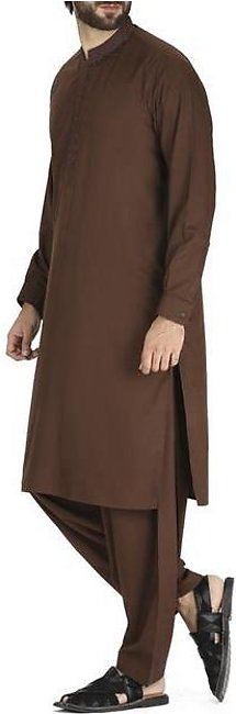 Brown Blended Kameez Shalwar - AL-KS-2416