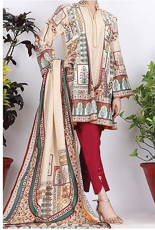Beige Cambric 3 Piece Stitched - ALP-754