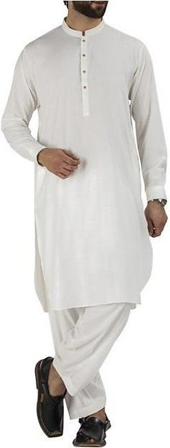 Off White Blended Kameez Shalwar - AL-KS-2477