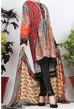 Multicolor Cambric 3 Piece Stitched - ALP-752