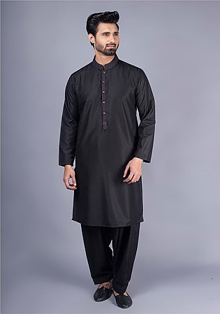 Classic Cotton Silk Caviar Classic Fit Embroidered Suit