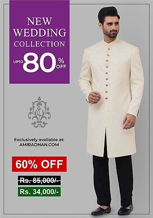 Premium Satin Pristine Classic Fit Embroidered Sherwani