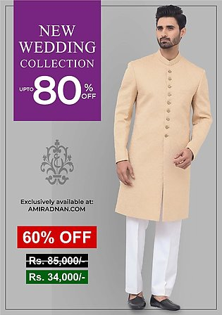 Premium Satin Beige Classic Fit Embroidered Sherwani