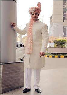 Premium Satin Off White Classic Fit Sherwani and Organza Crabapple Traditional Turban