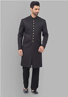 Premium Satin Tap Shoe Classic Fit Embroidered Sherwani