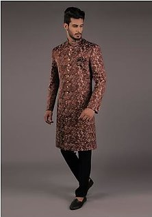 Premium Satin Brown Classic Fit Sherwani