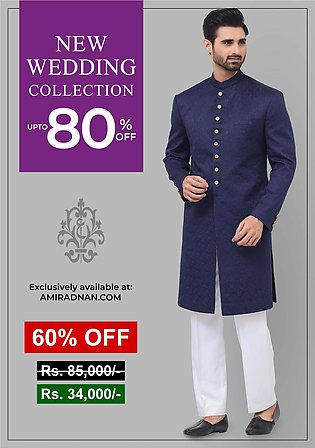 Premium Satin Navy Blazer Classic Fit Embroidered Sherwani