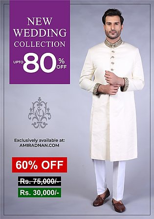 Off white Traditional plain jamawar sherwani