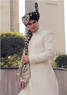 Premium Satin Off White Classic Fit Sherwani and Organza Tap Shoe Traditional Turban