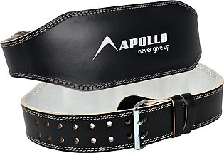 APOLLO WEIGHT LIFTING BODYBUILDING 4'' INCHES LEATHER GYM TRAINING BELT PADDED