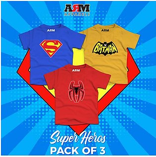 Pack of 3 Super Heroes T-Shirt For Kids – BAT-SUP-SPI_2