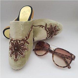 Fawn Velvet Mule Shoes with brown Embroidery WFW0040