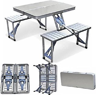 Portable Outdoor Aluminum Folding Table and Chairs Set - Silver