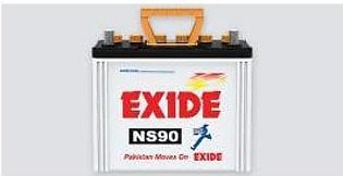 Exide Battery NS90 For Engine Capacity 2000-4000 CC
