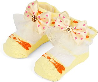 Little One Baby Bottie Net Bow Yellow