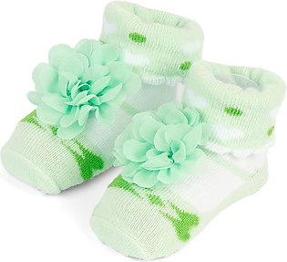 Little One Baby Bottie Flower Green & White
