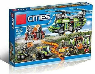 Lepin 1430 Pcs City Series The Volcano Heavy-Lift Helicopter