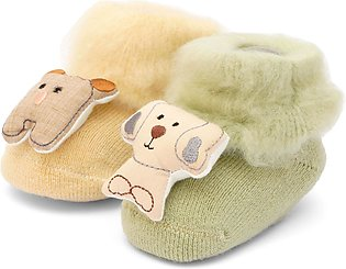 Little Sparks Baby Fur Bootie Beige & Green