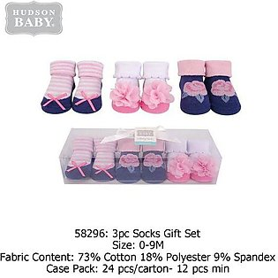 Hudson Baby Socks Gift Set Flower Blue