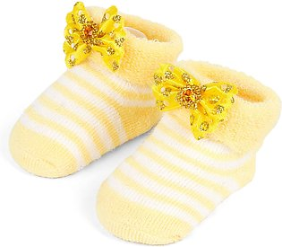 Little One Baby Bottie Bow Lines Yellow