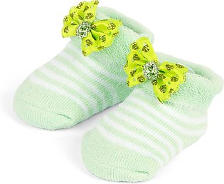 Little One Baby Bottie Bow Lines Green