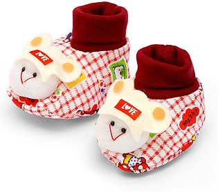 Little Sparks Baby Booties Check Bear Red