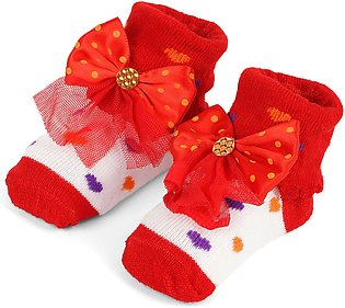 Little One Baby Bottie Net Bow Red