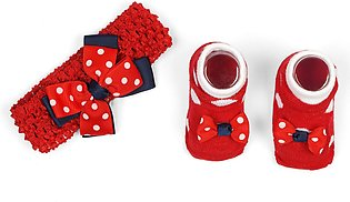 Little One Baby Headband & Bottie Set Lines Red & White
