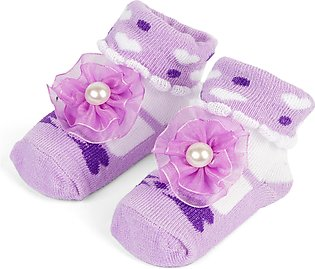 Little One Baby Bottie Flower Purple & White