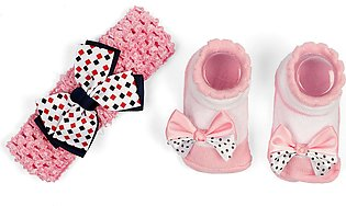 Little One Baby Headband & Bottie Set Lite Pink & White