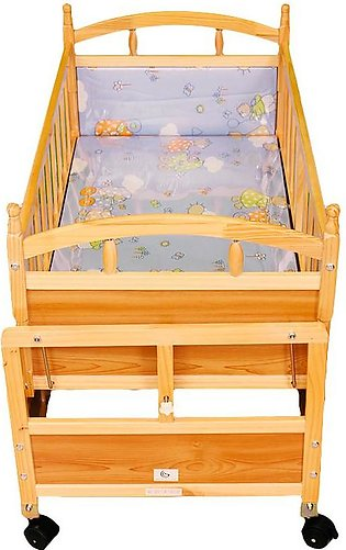 Junior Baby Cot Light Brown With Drawer