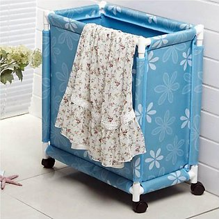 Oxford Fabric Clothes Laundry Basket with Wheels - Multicolours