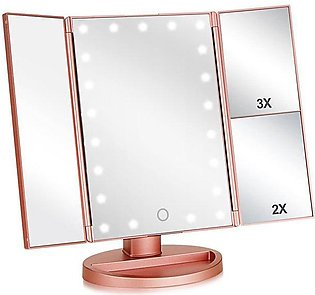 24 LED Lights Vanity Makeup Mirror Touch Screen Lighted Tabletop Cosmetic Mirror