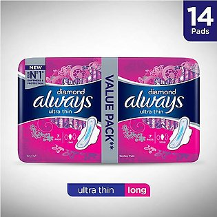 Always- Diamonds Ultra Thin Sanitary Pads, Long, Value Pack