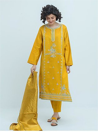 Embroidered Shirt With Dupatta And Pant