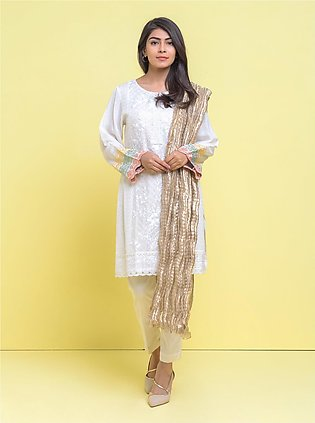 Embroidered Shirt with Tissue Dupatta